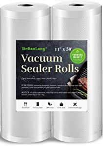 [Super Heavy Duty]Vacuum Sealer Bags for Food,11inx50 Rolls 2 Pack,XinBaoLong Food Saver Bags Rolls,Commercial Grade, Heavy Duty, BPA Free,Great for Vac Storage.Total 100 Feet!!! …