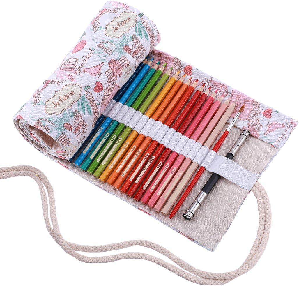 Abaría - Bolsa de lápiz de colores, mediana estuche enrollable 48 lápices, portalápices de lona, organizador para arte, parís 48 agujeros: Amazon.es: Electrónica