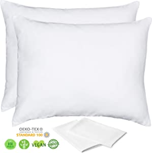 Organic Bamboo Pillow Cases Lyocell - Set of 2 Zippered Pillowcase, White, Standard 20x26 inches, Cooling Pillow - Use as Beauty, Anti Wrinkle or Acne Pillowcase - Like Silk Pillowcase for Hair