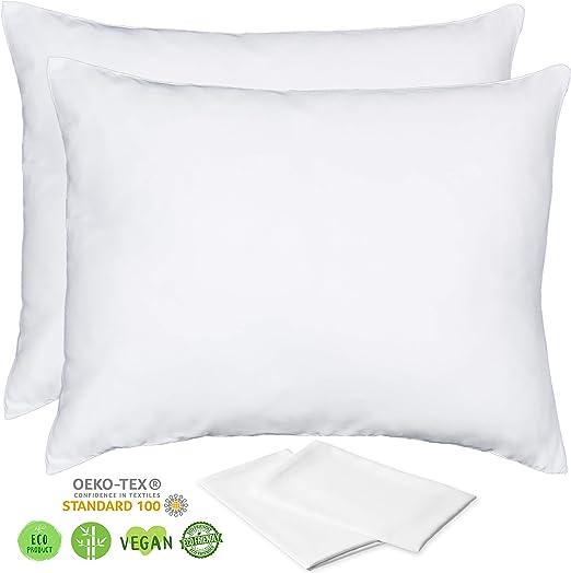 white hotel hypoallergenic pillow case zippered 100 regular size