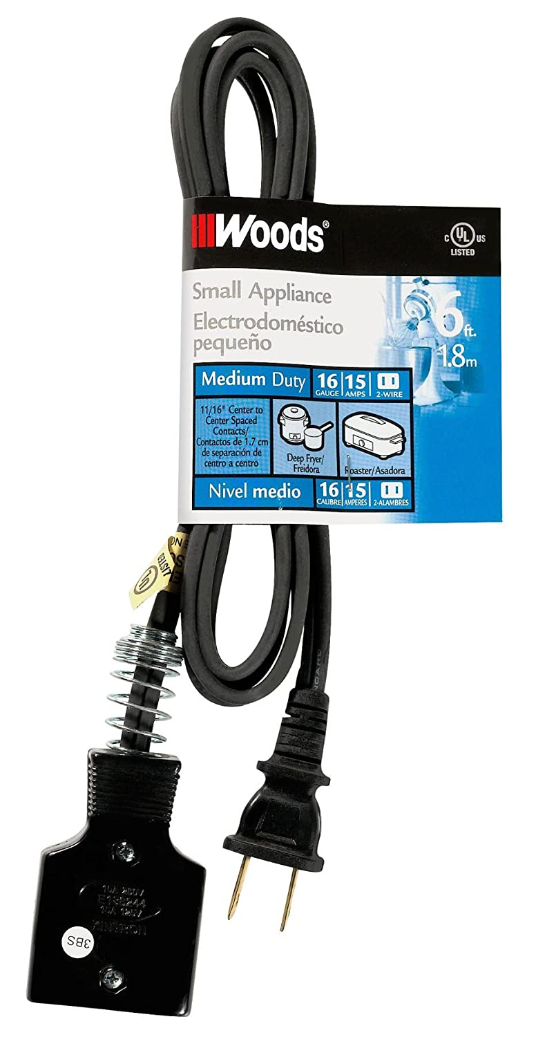 Woods 0290 HPN Appliance Cord, 6-Foot, Black