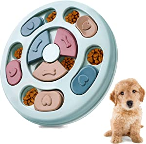 CFTGET Dog Puzzle Toys, Interactive Dog Toys Treat Dispensing for Puppy Training Playing, Slow Feeder Food Dispenser for Dogs Boredom Pet Intelligence Fun Hide & Seek Food Toy, Improve Dog's IQ