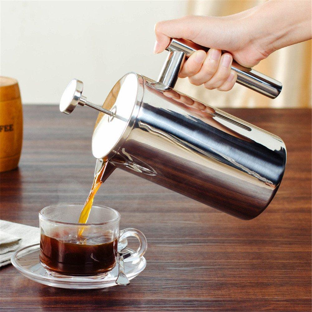 espumador de leche manual de acero inoxidable Espumador de espuma de capuchino para cafeter/ía o casa Cafetera de prensa francesa con doble pared aislada para espresso y tetera small