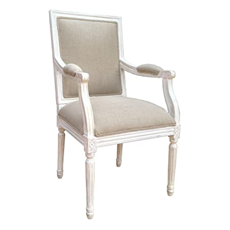 Louis Style Square Back Armchair For Dining Room, Living Room Or Bedroom    White Distressed