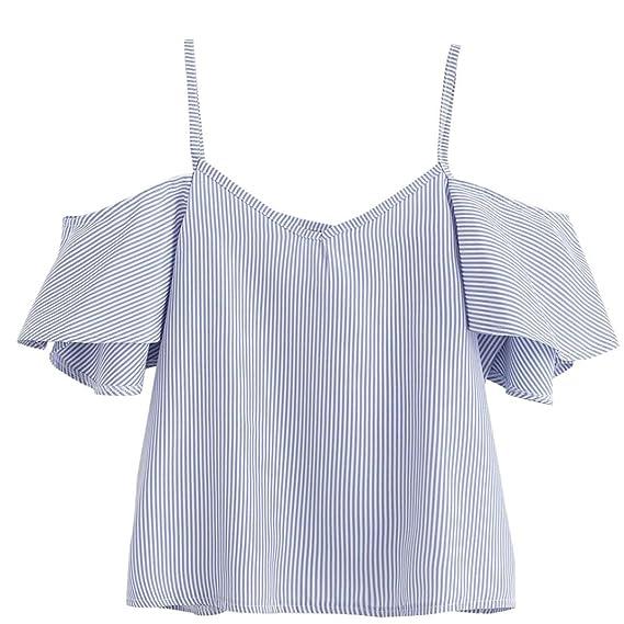KaloryWee Blusa de Mujer Verano a Rayas en la Parte Superior del Hombro, Blusa para