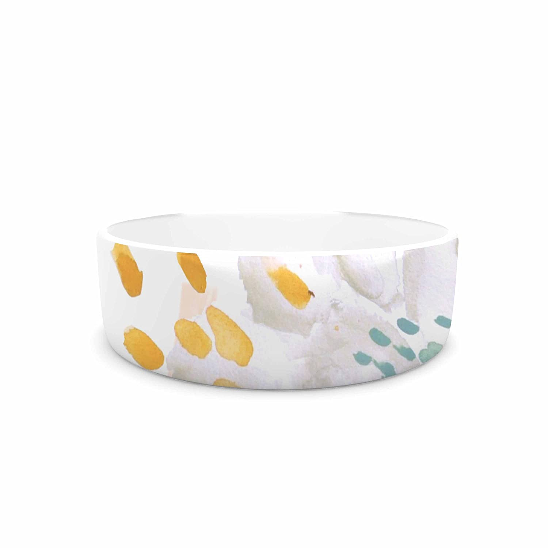 KESS InHouse Jennifer Rizzo Bright and Pretty Pink Coral White Floral Pet Bowl, 7  Diameter