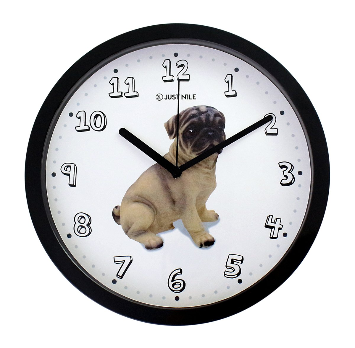 JustNile 10'' Cute Animal Round Quiet Sweep Movement Wall Clock, Black Frame and Black Hands, Pug