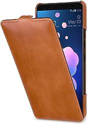StilGut Housse pour HTC U12+ en Cuir véritable à Ouverture Verticale, Cognac