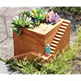 Chris.W Modern Square Wooden Cube Building & Stairs Design Succulent Planter Pot / Small Plant Box Container(Classic Brown)- Plants Not Included
