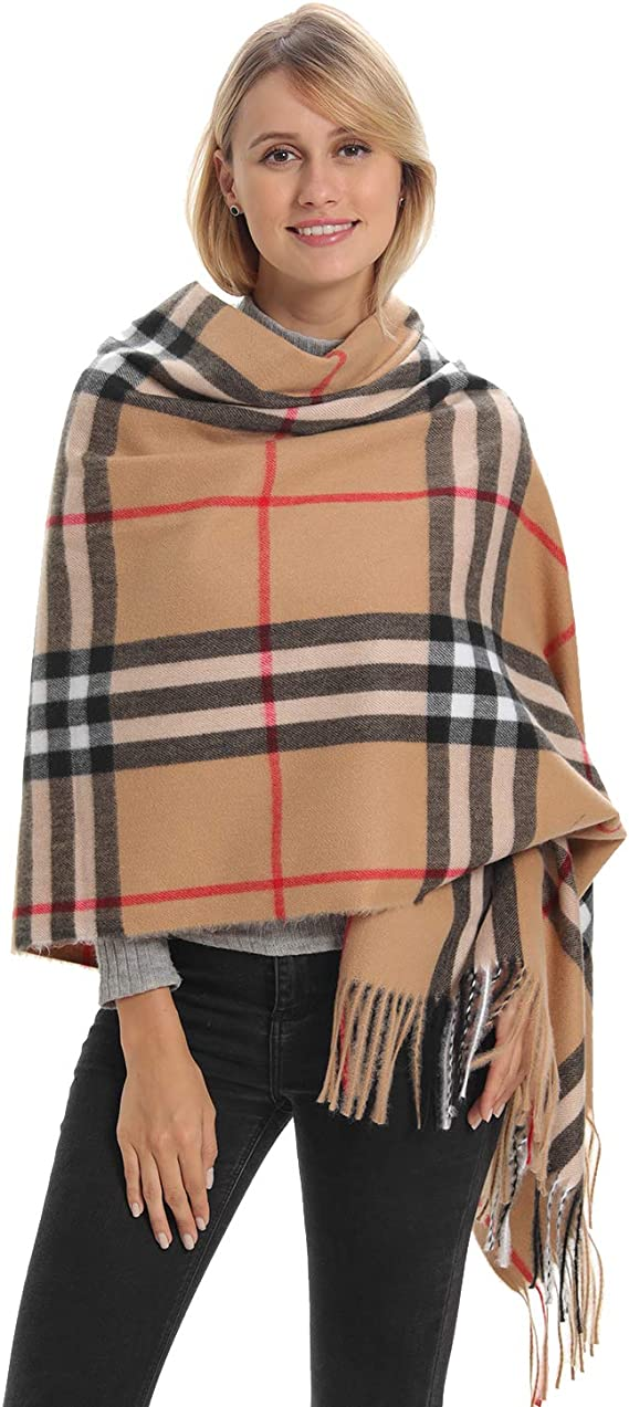 Anytime Scarf Unisex Classic Plaid Scarf Black One Size