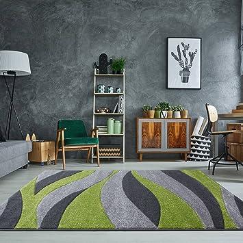 Rio Green Grey Wave Curve Calm Modern Design Living Room Area Rug 80cm X  150cm