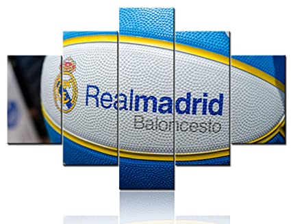 Framed Sports Pictures for Wall Real Madrid Club de Fútbol Art Basketball Ball Spalding Paintings 5 Pcs/Multi Panel Canvas Artwork Home Decor for ...