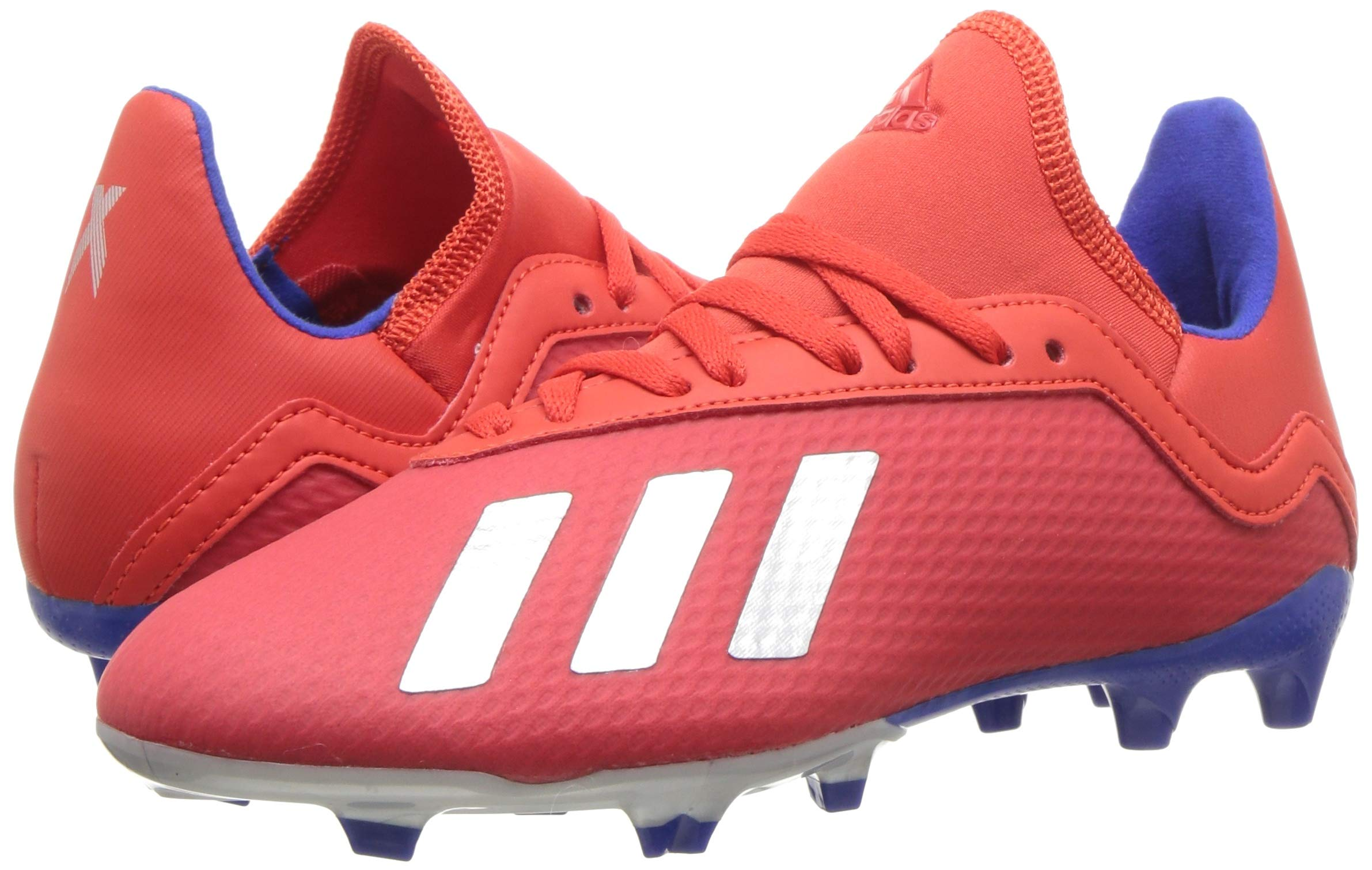 adidas X 18.3 Firm Ground, Active red/Silver Metallic/Bold Blue 13K M US Little Kid by adidas (Image #6)