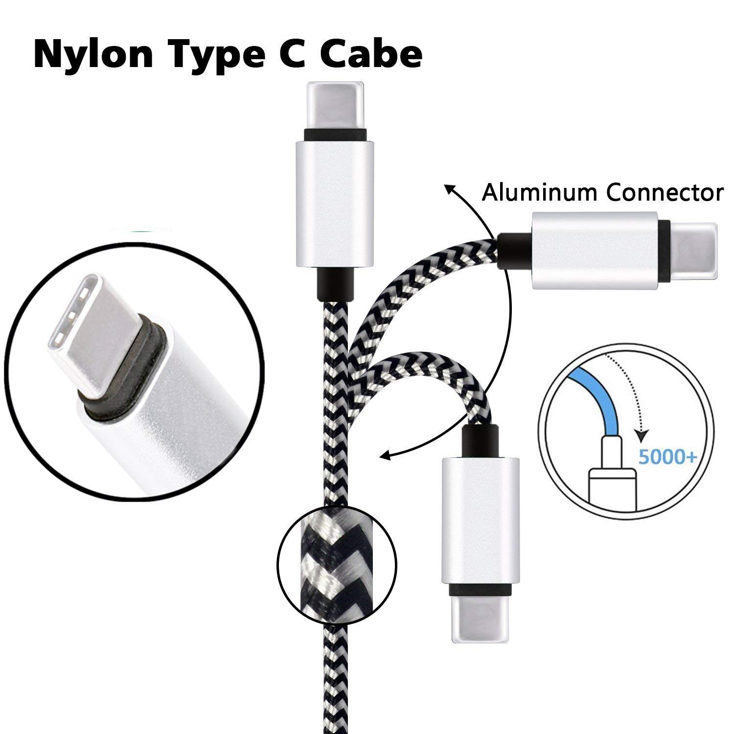 USB Type C Charger Cable [3-Pack, 6ft] Myckuu Fast Quick Charge USB-C Nylon Braided Cord for Samsung S9/S8 Plus, Galaxy Note 9/8, LG Stylo 4/G7 Thinq, Moto G6/Z3, ZTE Blade Zmax - White/Black