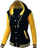 Xpril Women's Stylish Fabric Hoodie Baseball Jacket Overcoat