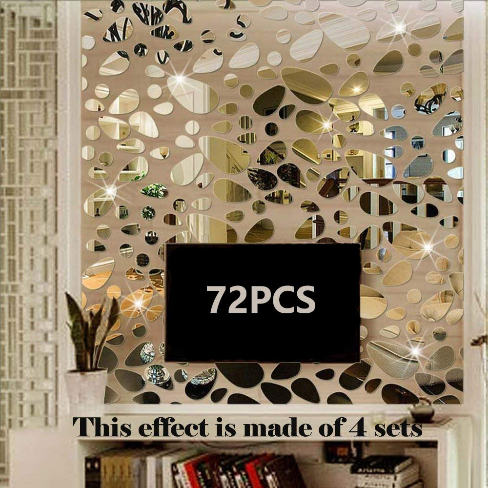 TTSAM 72PCS Silver Mirror Decals Acrylic Cobblestone Shape Wall Stickers [18PCS4 Set], Cobblestone Shape DIY Decor for Home Room Bedroom Office Decoration Silver Mirror