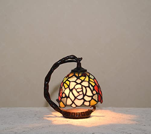 Flower Stained Glass Tiffany Style Small Table Desk Lamp Night Light, Metal Base
