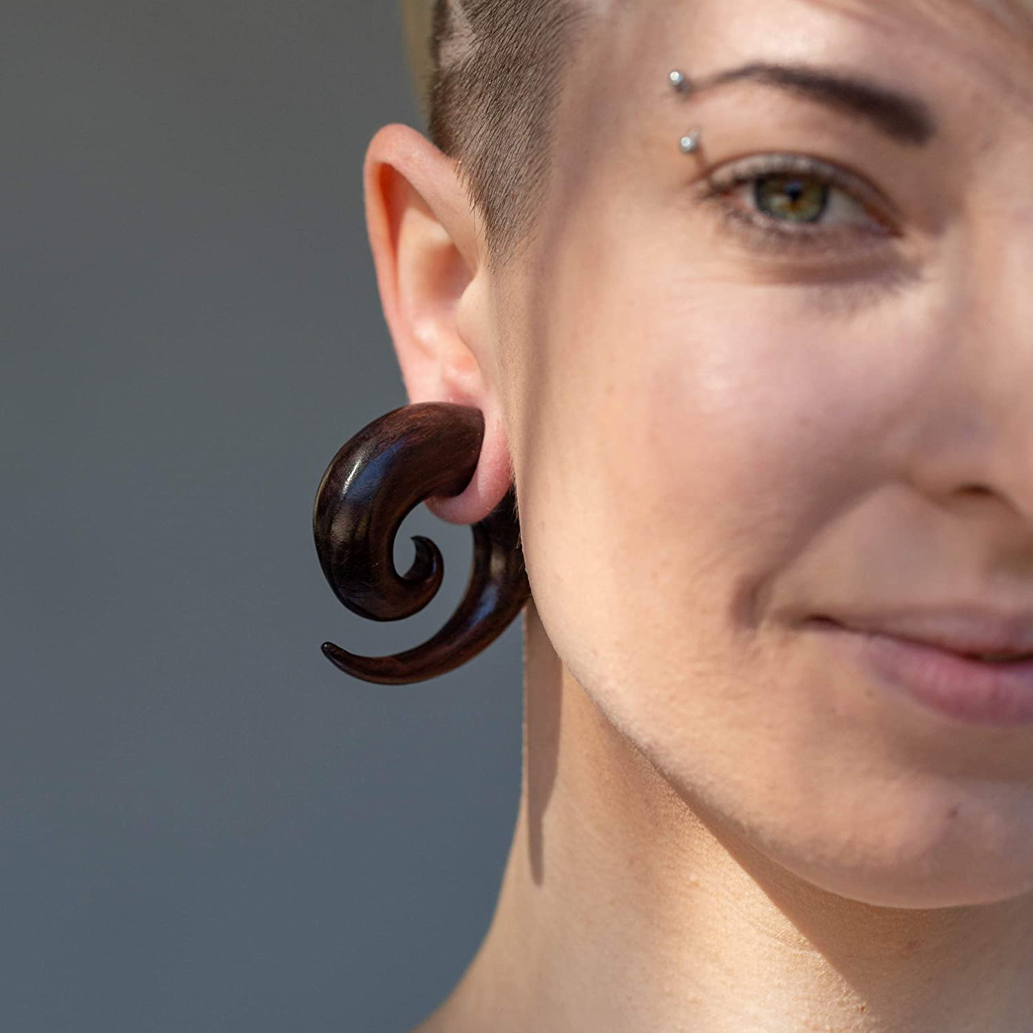 Guages or Gages Earth Accessories Spiral Taper Earrings Ear Stretching Gauges Gauges for Ears with Organic Wood - Set of Plugs Sold as Pair