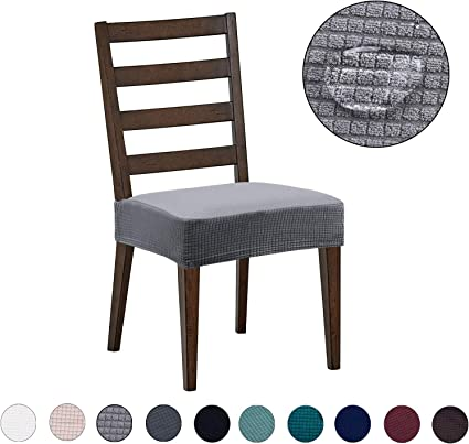 Dining Chair Covers 4 Pack Water Repellent Easy To Install High Stretch Dining Room Chair Seat Slipcover Protector Shield For Dog Cat Pets Light Grey Amazon Co Uk Kitchen Home