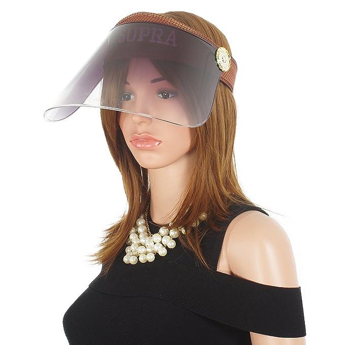 Janey Rubbins Wome s Anti UV Sun Visor Hats Headband Solar Face Shield  Patented Riding Caps (Brown 05c4f6cd171