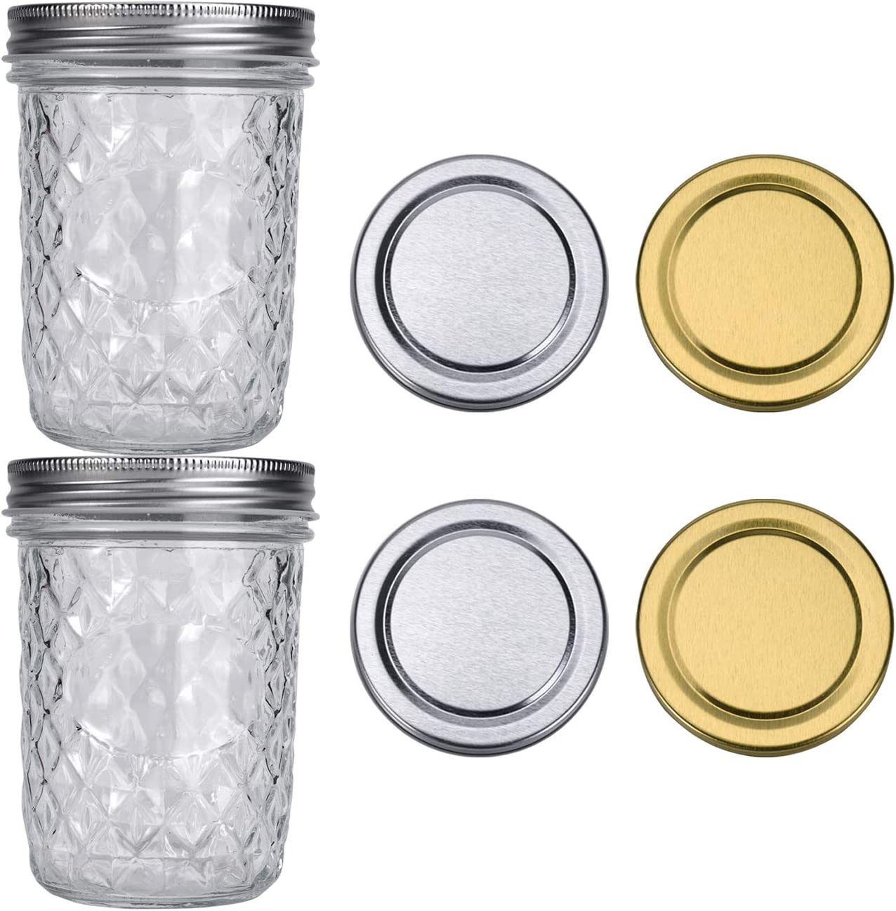 ShiJJ 16oz Mason Jars with Lids Wide Mouth Jars Jelly Jars 2 Pack with 2 Silver Lids + 2 Gold Lids Pint Mason Jar Ideal for Canning Food Storage
