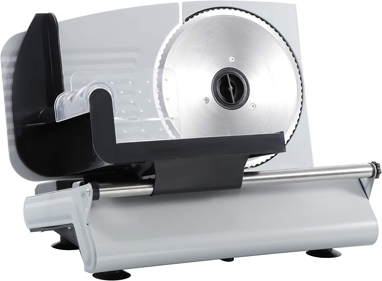 "ZENSTYLE Premium Electric Meat Slicer Stainless Steel, 7.5"" Blade, 150Watt Professional Silver Electric Food Meat, Deli, Cheese, Veggies, Bread Slicer"