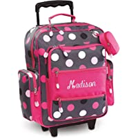 """Personalized Rolling Luggage for Kids Grey Multi-Dots Design, 20""""H x 12"""" x 5"""", By Lillian Vernon"""