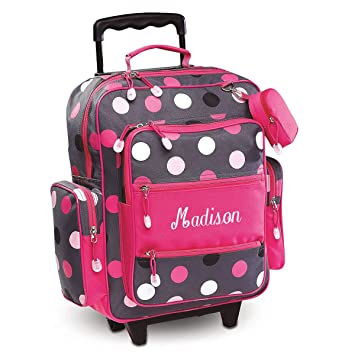 605bfec80baa Personalized Rolling Luggage for Kids – Grey Multi-Dots Design, 20