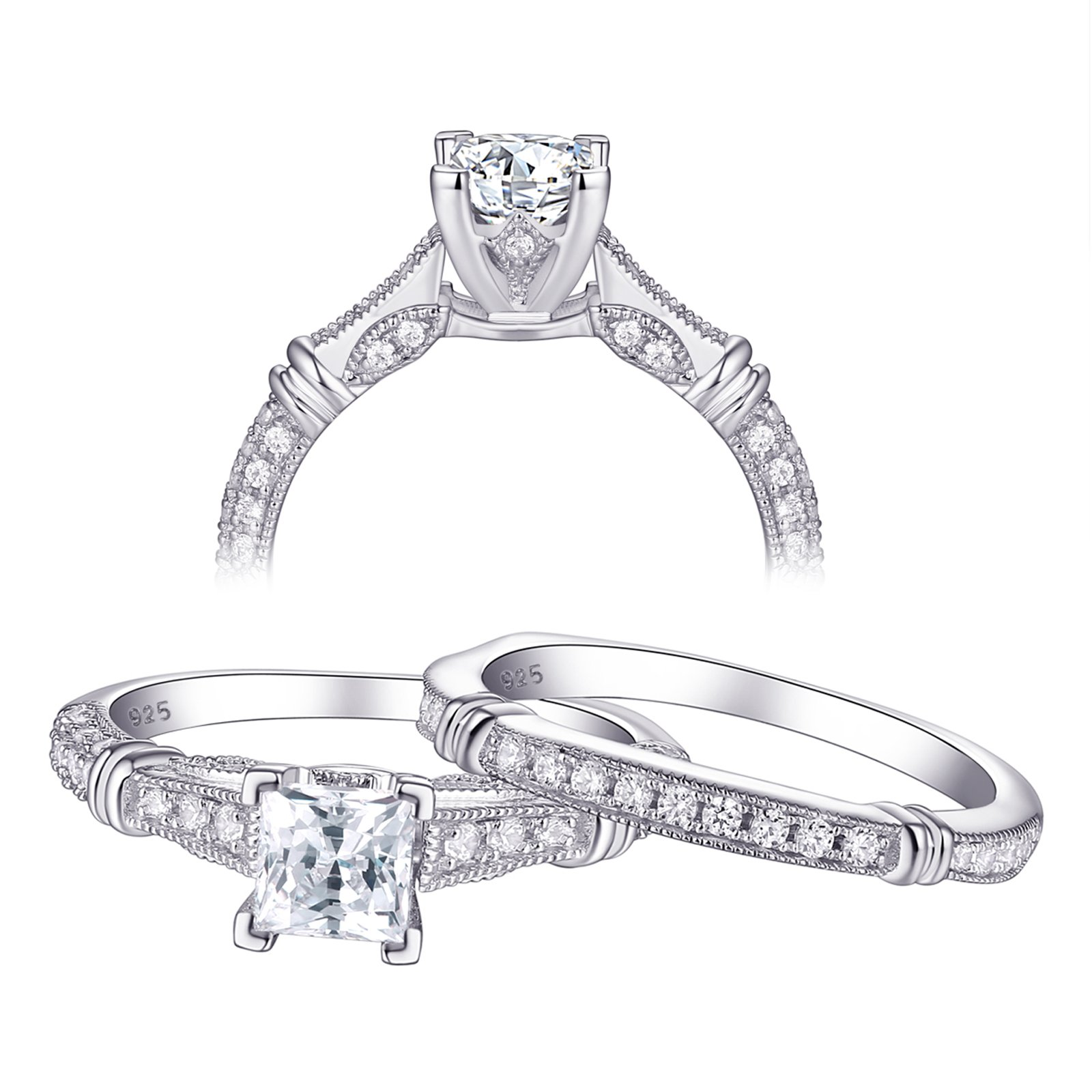 Newshe Jewellery Vintage Cz Engagement Wedding Ring Set For Women Sterling Silver Princess 1ct 8