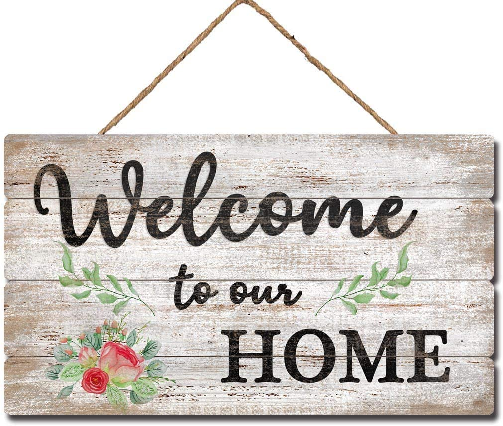 """MACVAD Welcome to Our Home Rustic Wood Sign with Rope for Front Porch,Entryway,Farmhouse Hanging Welcome Sign,Welcome Door Sign 12"""" x 7"""""""