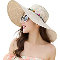 Lanzom Womens Wide Brim Straw Hat Floppy Foldable Roll up Cap Beach Sun Hat  UPF 50 29cbc1c4e79