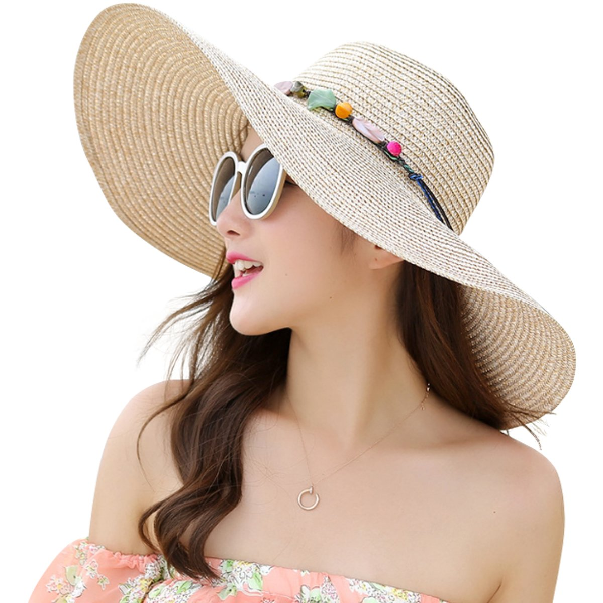 1832b42f Lanzom Womens Wide Brim Straw Hat Floppy Foldable Roll up Cap Beach Sun Hat  UPF 50+ (Style A-Khaki) at Amazon Women's Clothing store: