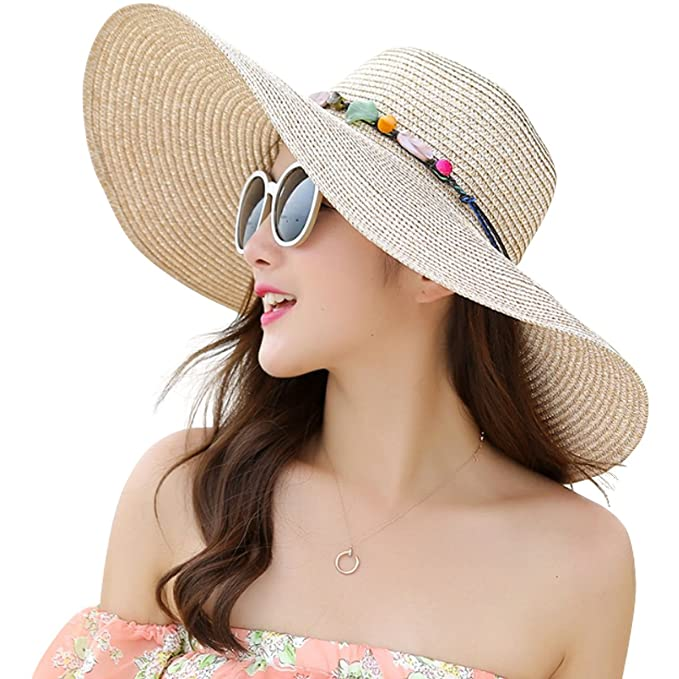 2b3d23d18937e Lanzom Womens Wide Brim Straw Hat Floppy Foldable Roll up Cap Beach Sun Hat  UPF 50