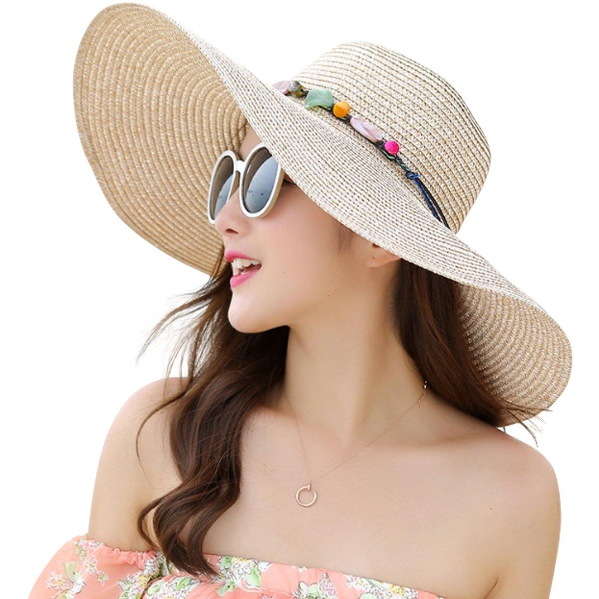 JOYEBUY Women's Floppy Big Brim Hat Bowknot Straw Hat Foldable Roll up Sun Hat (Style B-Khaki)