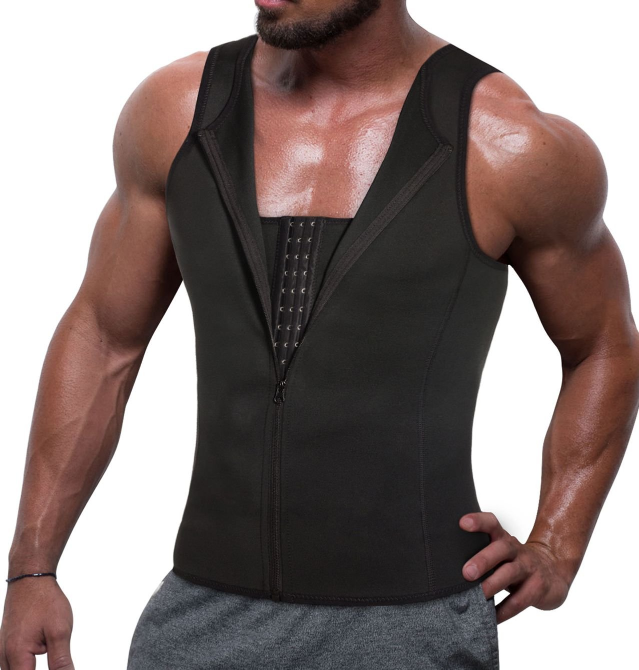 Men Chest Compression Tank Top Shirt Tight Body Shaper for Tummy Slimming Abs Trim Girdle Vest (2XL, Black)