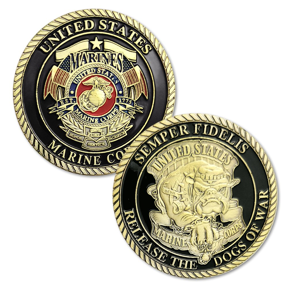 Semper Fidelis US Marine Corps Devil Dog Challenge Coins Gifts for Man FunYan