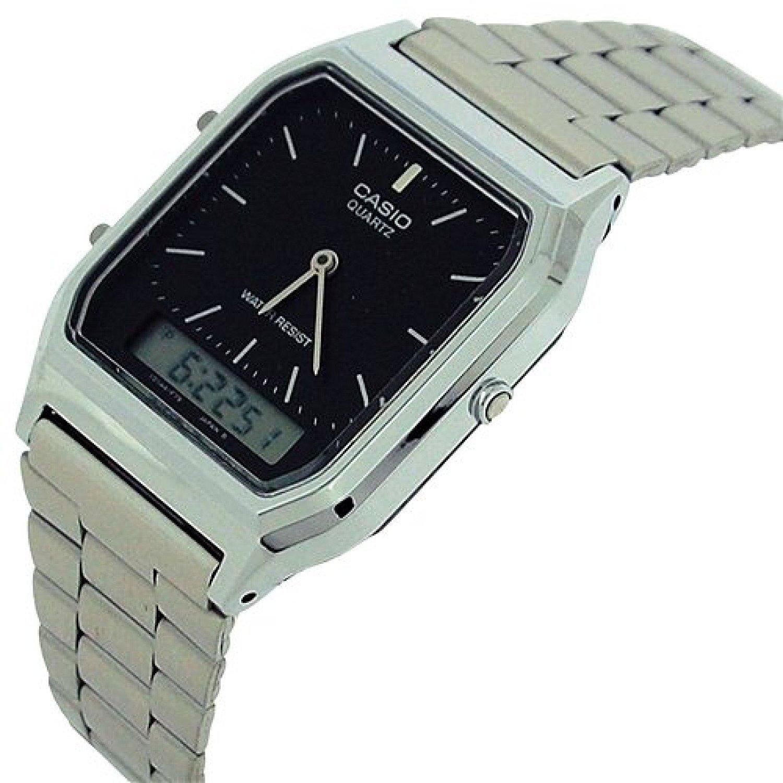62f64f6beda2 Reloj Casio Vintage AQ230 Plata Con Negro  Casio  Amazon.com.mx  Relojes