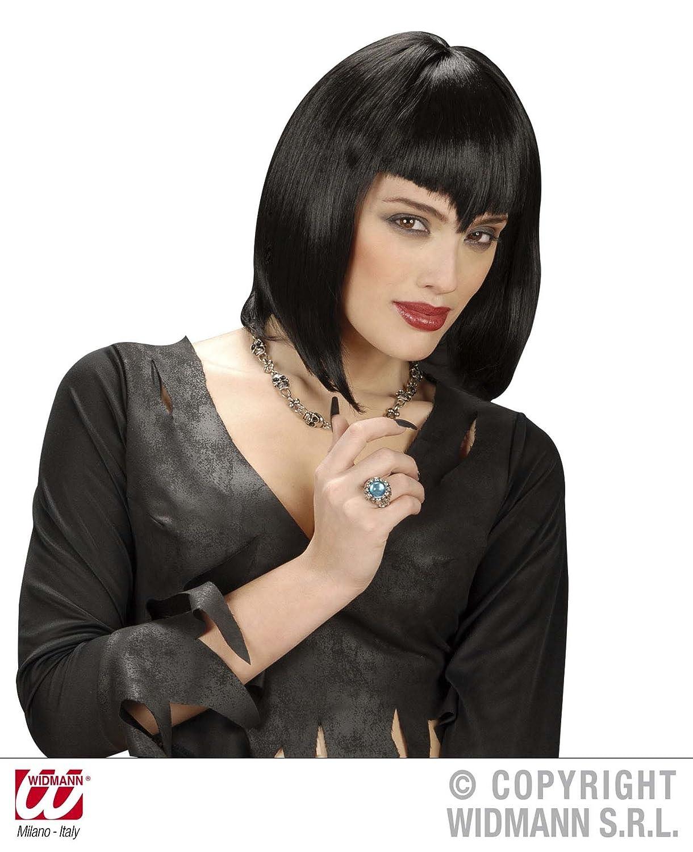 Ladies Black Red Vamp Short Vampiress Vampire Witch Wig Fancy Dress Halloween