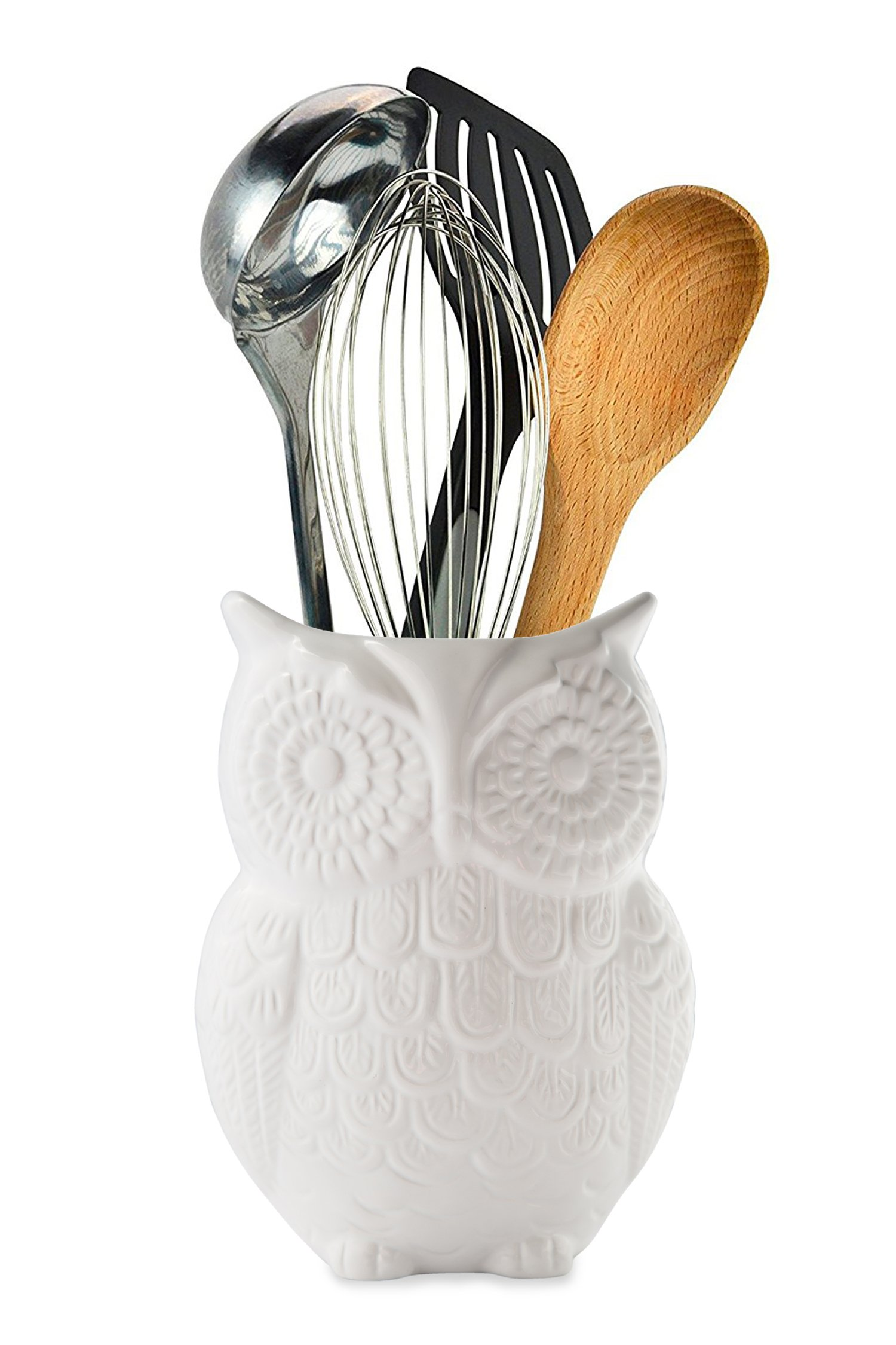 """Owl Utensil Holder by Comfify - Decorative Ceramic Cookware Crock & Organizer, in Lovely White Color - Utensil Caddy and Perfect Kitchen Ceramic Décor Gift - 5"""" x 7"""" x 4"""" Size"""
