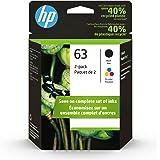 HP 63 | 2 Ink Cartridges | Black, Tri-color | Works with HP DeskJet 1112, 2100 Series, 3600 Series, HP ENVY 4500 Series, HP O