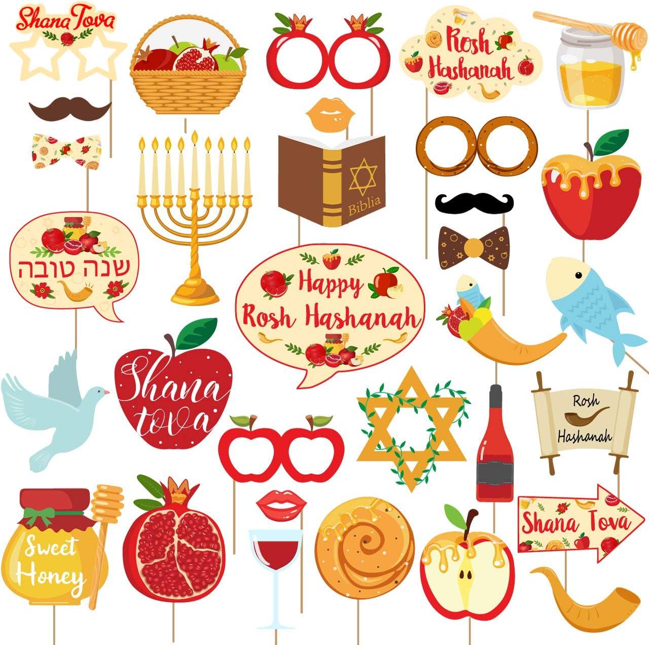 32 Pcs Rosh Hashanah Photo Booth Props Jewish New Year Decorations Shana Tova Honey Pomegranate Fish Centerpieces for Jewish Holiday Party Supplies