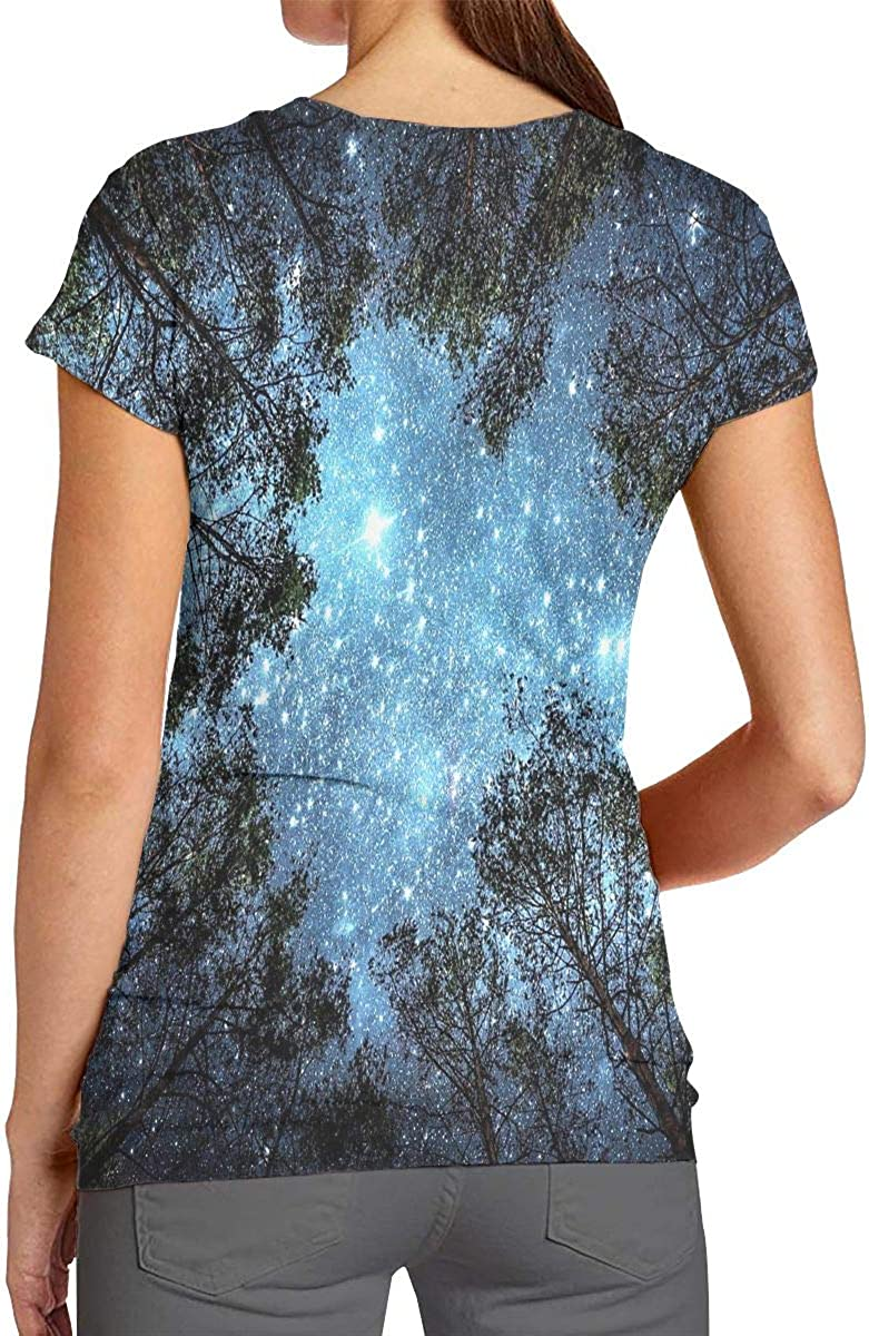 Womens Forest Starry Sky Night Fashion 3D Pattern Printed Short Sleeve T Shirt Tee Shirts