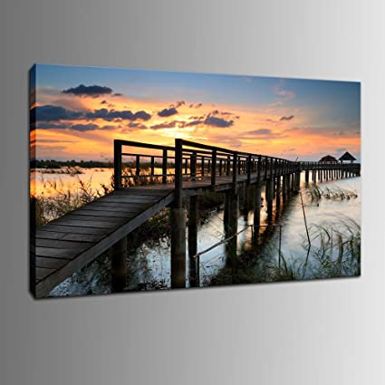 DINGDONGART  Pier Wall Art Canvas Painting, Seascape Framed Art, Sunset  Landscape Decor,