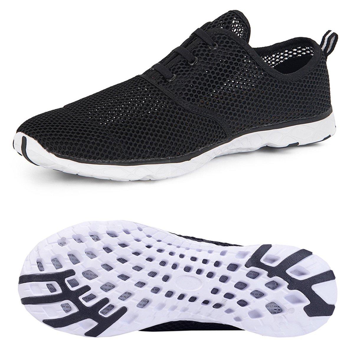 Water Shoes for Men Quick Drying Aqua Shoes Beach Pool Shoes (Black, 45)