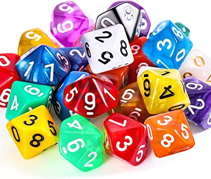 TecUnite Conjunto de Dados Poliédricos de 25 Piezas con Bolsa Negra para DND RPG MTG y Otros Juegos de Mesa con Surtiddo de Multicolor al Azar (D10): Amazon.es: Juguetes y juegos