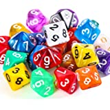 TecUnite 25 Pieces Polyhedral Dice Set with Black Pouch for DND RPG MTG and Other Table Games with Random Multi Colored…