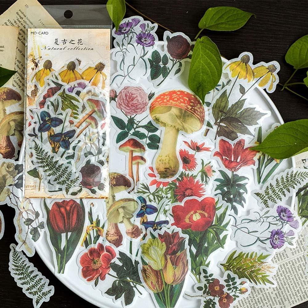 Aolvo Ephemera Lot Tropical plantes Style Note Stickers simple Autocollant Fleurs roses de jardin Fleurs sauvages Papillons pour scrapbooking lot de 60 ordinateur portable
