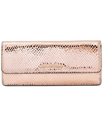 4a81fbb5d7e8 Image Unavailable. Image not available for. Color: MICHAEL Michael Kors  Flat Wallet metallic snake-embossed