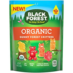 Black Forest (1) Bag Organic Gummy Forest Critters Candy - Made With Real Fruit Juice - Apple, Mango, Strawberry, Peach, Watermelon Flavors - Squirrel, Bear, Rabbit, Owl & Paw Shapes - Net Wt. 8 oz