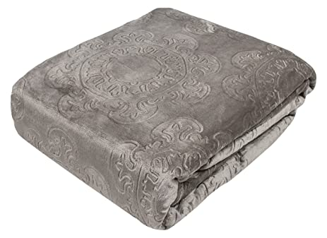 Fraiche Maison Italian Tile Hot Pressed Velvet Plush Blanket Twin French Roast B018616RH4